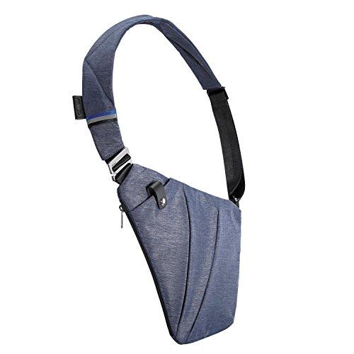 NIID-FINO Sling Schulter Crossbody Brust Tasche Slim Rucksack Multipurpose Daypack für College Herren Frauen Radfahren Walking Wandern Trip Passt bis zu 7,9 Zoll iPad Mini (RECHTS, Grau) Navy Blau