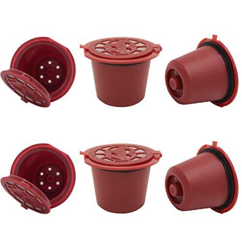 ViVseliy 6 Stück Wiederverwendbarer Kaffeekapsel Filter, Nachfüllbare Kaffeekapsel, Kompatible Filterbecher Gute Filtration für Nespresso mit 1 Plastiklöffel und 1 Reinigungsbürste (Rot)