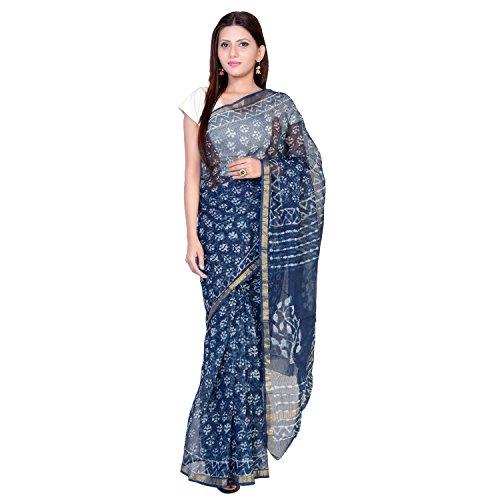 Panvi Kota Doria Cotton Silk Saree With Blouse Peice (Hand Block Printed...