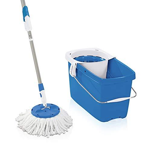 Leifheit 52076 Set Clean Twist Disc Mop Pure Blue Set Bodenwischer, Metall, 48 x 27 cm