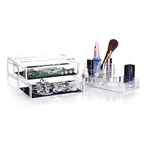 cafc49e88 Femor Organizador de Maquillaje Estante de maquillajes Maquillaje  Cosméticos Joyería Organizador color Transparente (2 Cajones
