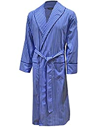 Lloyd Attree & Smith Men's Lightweight Cotton Dressing Gown - Blue Stripe