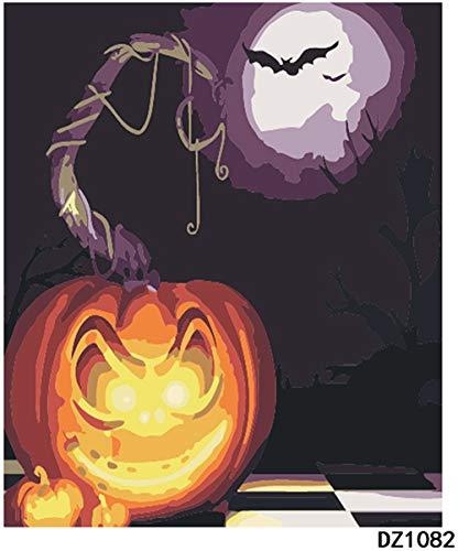 Leinwandbild, zum Ausmalen, Malen nach Zahlen, Halloween-Kürbis-Licht, 40,6 x 50,8 cm