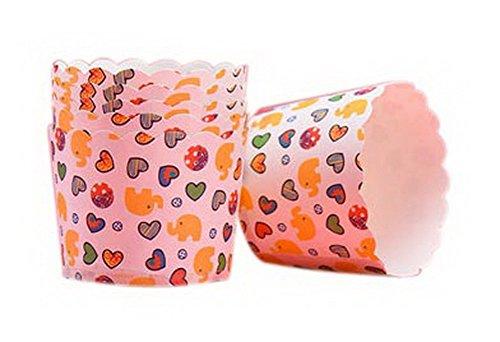 Koala Superstore 48 Piezas corazón de Amor Elefantes patrón Muffin Tazas Pastel...