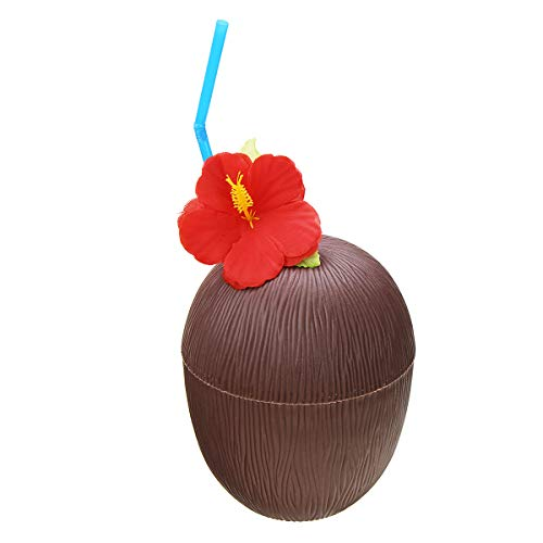 KUNSE Kunststoff Tropischen Kokosnuss-Cup-Flasche W/Stroh Sommer Hawaii Luau Partei Strand-Pool-Party