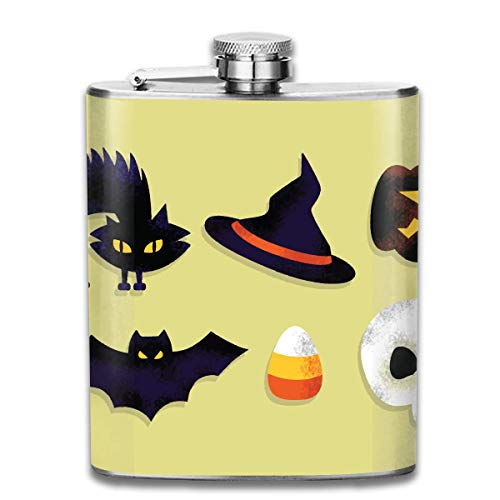 dfegyfr 7 Oz Stainless Steel Flask Cartoon Scary Halloween Fashion Portable Stainless Steel Hip Flask Whiskey Bottle for Men and Women 7 Oz (Halloween Cartoons Scary)