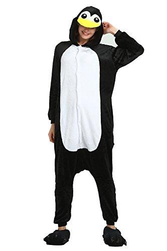 KiKa Monkey Einhorn Kostüm Pyjama Erwachsene Tier Jumpsuits Flanell Nachtwäsche Karnevals Cosplay kostüme (S, Pinguin)