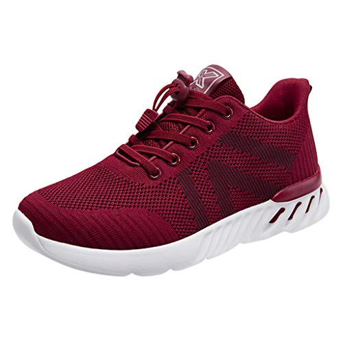 Deloito Damen Sneaker Leichte Modische Turnschuhe Fliegendes Weben Socken Sport Schuhe Schüler Freizeit Atmungsaktiv Laufschuhe (39 EU, Rot-06)
