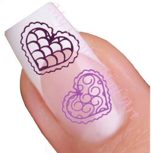 Coeur violet pour ongles décalques à l'eau - Transfert Décalque à l'eau, tatoo