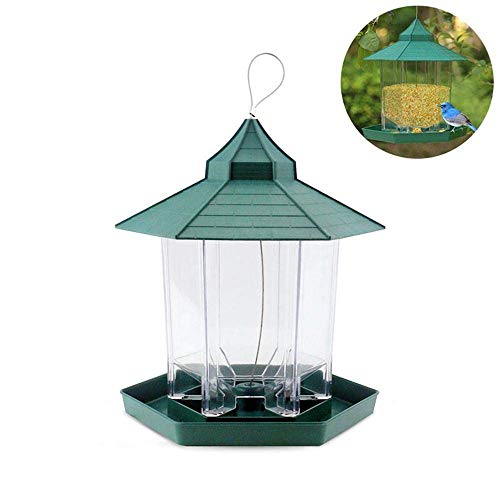 EUTUOPU Hanging Wild Bird Feeder - Premium Hard Plastic Outdoor Birdfeeder, Weatherproof and Water Resistant - Gazebo Shape for Garden Yard Outdoor Decoration and Bird Watching for Bird Lover