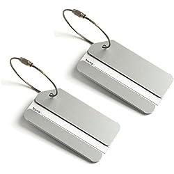 Vacances en aluminium en métal de voyage bagages Valise Sac Identifiant Étiquettes Porte Nom Adresse Étiquette d'identification avec chaîne à vis Lot de 2 Gris Davy