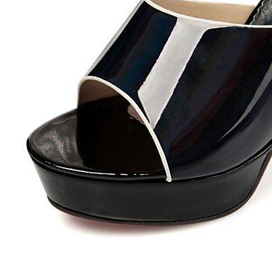 CH&TOU Da donnaFormale Casual-Plateau-Quadrato Plateau-Vernice Materiali personalizzati-Nero Argento Dorato black