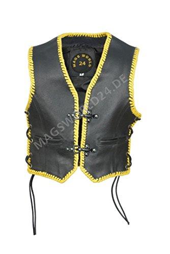 Kinder Lederweste Biker Rocker Lederkutte Clubweste Kids Motorradweste gelbe Kordel und schwarze karabiner Haken Schnallenverschlüsse