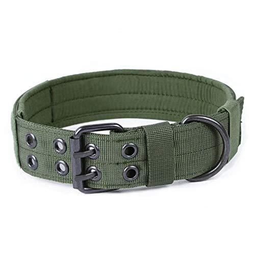 NO LOGO XBF-LIeq, Einstellbare große Hundehalsband HalsketteChoker Hunde Traction Bedarf Outdoor Military Tactical Jagd-Hund Canine Hound Ausrüstung (Farbe : Army Green, Größe : L) -