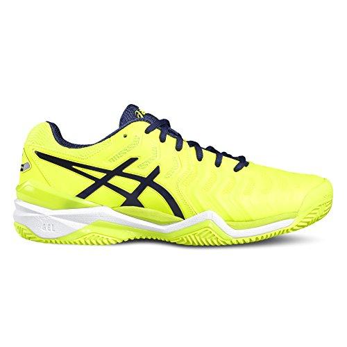 Asics Gel-Resolution 7 Clay Scarpe da tennis, Uomo, Multicolore (Safety Yellow/Indigo Blue/White), 43.5