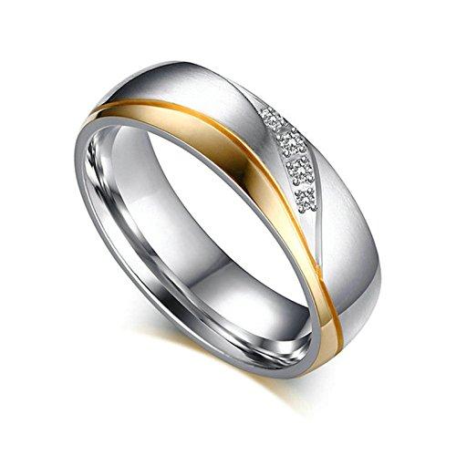 Beydodo 1 PCS Edelstahl Trauringe Damen Ring Hochglanzpoliert AAA Zirkonia Breite 6MM Paarringe Hochzeitsringe Verlobung Ring Silber Gold Größe 62 (19.7)