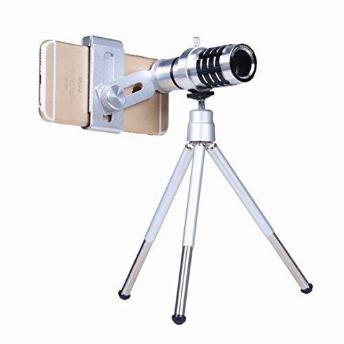 Telefon Kamera Objektiv Kit 12x optischer Zoom Universal Smartphone Teleobjektiv Teleskop Objektiv mit Stativ Remasuri (12x Objektiv + Stativ)