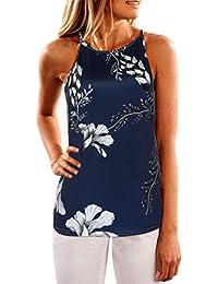 Mujer Blusa sexy,Sonnena ❤️ ❤️ floral impresión Camisas verano sin manga de las mujeres hombro desnudo con tirantes Suelto y suave casual traje de verano fresco para citas Actividades