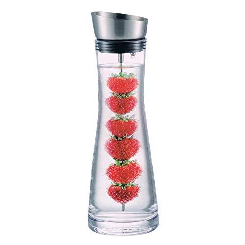 Hochwertige Glaskaraffe mit Edelstahl Deckel-Ausgießer ca. 1 Liter + Früchtespieß