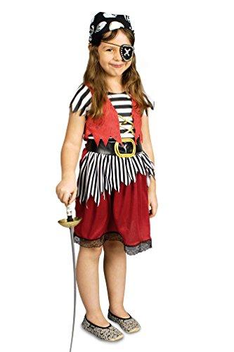 Karneval Klamotten Piraten-Kostüm Piratin Kinder Mädchen schwarz-rot-weiß Piratenbraut Kinderkostüm Kleid Größe 98-104 (Braut Halloween Kostüm Für Kinder)