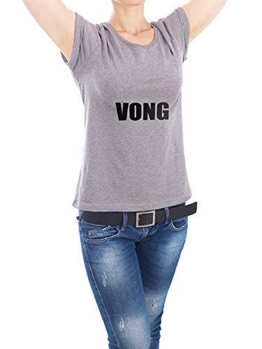 "Design T-Shirt Frauen Earth Positive ""Vong"" - stylisches Shirt Typografie von artboxONE Edition Grau"