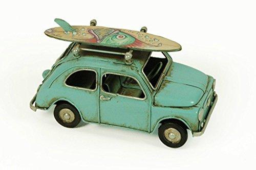 Figura Decorativa de Metal 'Coche Antiguo 600 Azul'. Vehículos. Adornos y Esculturas. Coleccionismo. 15 x 8 x 8 cm.