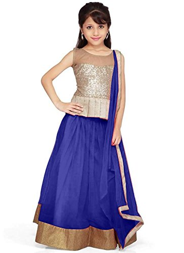 new arrival designer Blue net partywear kids lehenga choli dress material (32 inches (11-12 year))