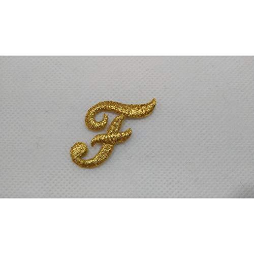 Letra de termo-adhesivo bordado de punto completo cursiva marbet alta de 25 mm color Oro lurex - Lettera F