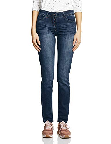 Dark Wash Blue Jean (Cecil Damen 371874 Charlize Slim Jeans, Dark Blue Used wash, W30/L32 (Herstellergröße:30))