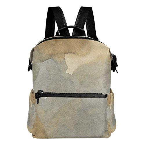 e2dc57ce604d MONTOJ Braun Watercolor Reisetasche Leder Campus Rucksack Unisex Schule  Pack Daypack für Mädchen