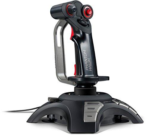 Speedlink PHANTOM HAWK Flightstick - Joystick für Gamer (mit Handablage - Stufenloser Schubregler - Force Vibration) für Gaming/PC/Notebook/Laptop, Kabellänge 2m schwarz (Generalüberholt)