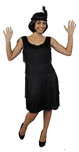 ILOVEFANCYDRESS Charleston Flapper KOSTÜM Kleid VERKLEIDUNG 4 Farben+PASSENDEM Stirnband+Feder+SILBERNEN Kette MUß VERKNOTET Werden=Kleid FRANSEN AUF BEIDEN Seiten=SCHWARZ-Large