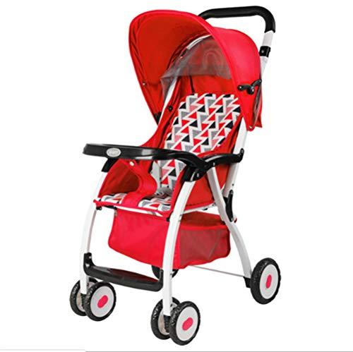 Showgg passeggino, ombrellone pieghevole reclinabile ad alto paesaggio, ammortizzatore compatto a quattro ruote,red