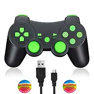 TPFOON Controller Joystick Wireless per PS3 Giochi, con Doppia Vibrazione e Funzione SIXAXIS per Sony PS3 Playstation 3 (Verde)
