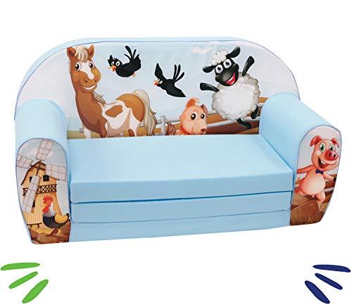 DELSIT universelles Kindersofa zum Ausklappen Ausklappbare Kinder Sofa Kindermöbel für Jungen und Mädchen BAUERNHOF Blau