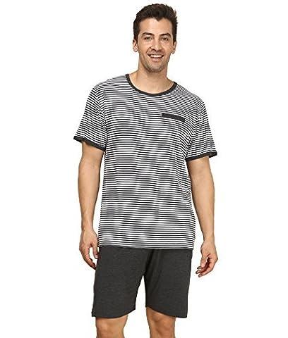 Pyjama Mens Short Sleeve Sleepwear Comfy T-Shirt Top & Shorts 2 Piece Classic PJ Set Striped Cotton Nightwear Suntasty Loungewear