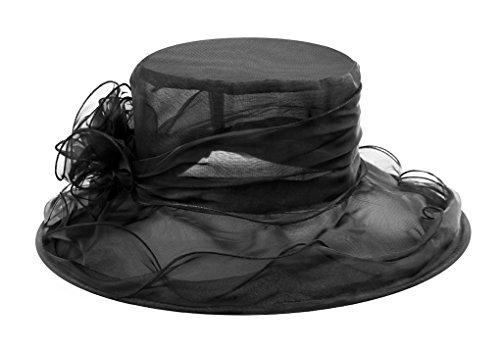 Damen Sommer Hut Elegante Blumen Organzahut Sonnenhüte Breite Krempe Strandhut Damenhut für Hochzeit Kirche Party