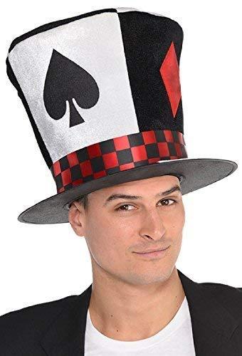 Fancy Me Herren Damen Poker Kasino Kartenspiel Verrückter Hutmacher Las Vegas Karneval Festival Karnevalskostüm Outfit Accessoire Überdimensional Hut (Alice Im Wunderland Kostüm Für Jugendliche)