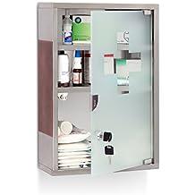 relaxdays armoire pharmacie emergency xl mdicaments bandages 3 tages porte en verre tagre en inox - Meuble Haut Cuisine Porte Vitree Avec Etage