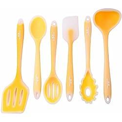 GA Homefavor 6 piezas Vajilla de silicona Juego de herramienta de cocina de silicona resistente al calor Utensilios de cocina