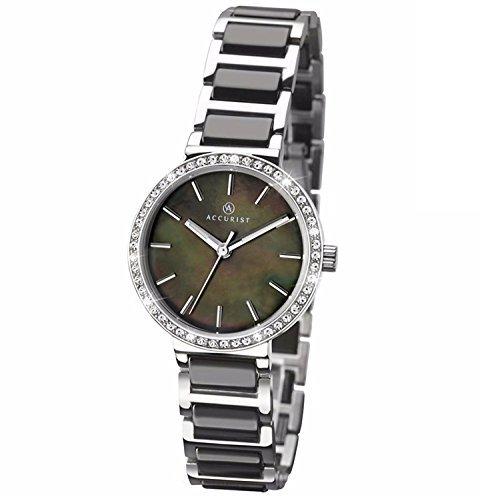 Accurist esfera de color negro pulsera de acero inoxidable con incrustaciones de cerámica de color negro reloj de pulsera para mujer 8098