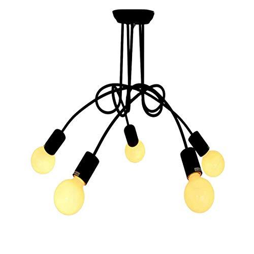 6-licht Halogen-flush (Chandeliersemi Flush Mount Deckenleuchte Metall Style Krawatte Ein Knoten Fixture Industrial Vintage Mit 6 Light-Black)
