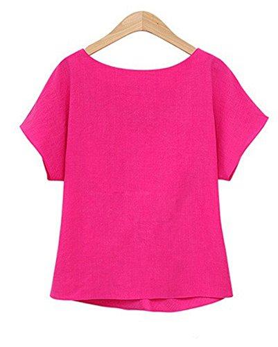 Camicia Donna T Shirt Manica Corta Chiffon Sciolto Camicetta Bluse Maglietta Top Shirts Rose Rosso