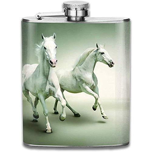 Cool Blanc Cheval Hd Fonds D'écran En Plein Air Portable En Acier Inoxydable Étanche Alcool Whisky Liqueur Pot De Vin Flacon De Hanche