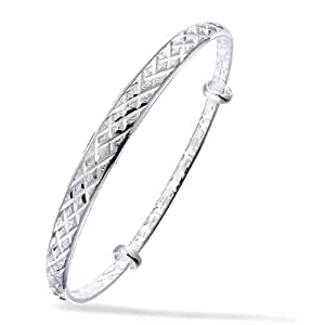 Merdia S990argent Sterling Argenté Réglable chinois style texturé Bracelet