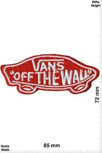 Patches - Vans - Off the Wall - small - silver/red - Cool Brands Patches - Streetwear - Vintage - Vest - Iron on Patch - Applique embroidery Écusson brodé Costume Cadeau- Give Away