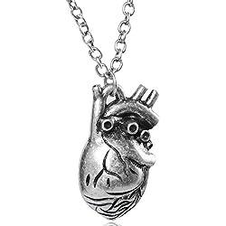 MESE London Collar Con Colgante De Corazón Anatómico De Plata – Elegante Caja De Regalo