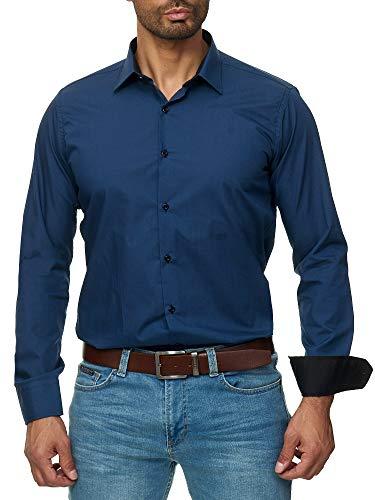J'S FASHION Herren-Hemd - Slim Fit - Bügelleicht - Langarm-Hemd für Business Freizeit Hochzeit - Navyblau - XXL