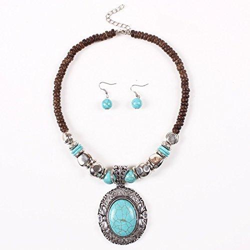 QIYUN.Z Collar Azul Colgante Cadena De Cuentas De Madera De Color Turquesa Grueso Collar Pendientes De Tibet