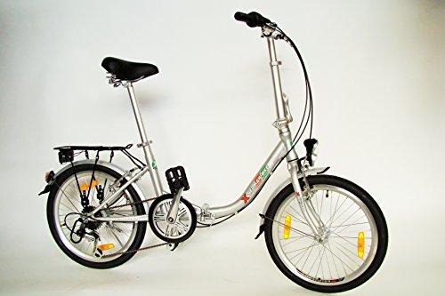 GermanXia Premium Faltrad 20 Zoll Comfort Silber